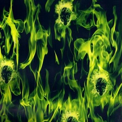 Flaming Skulls Green